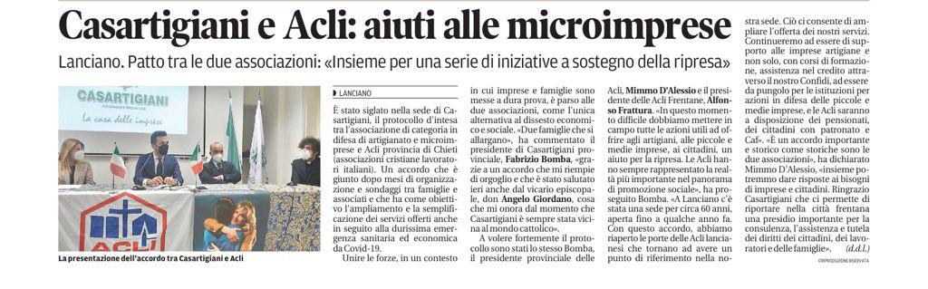 Nuovo Patto d'Intesa tra Casartigiani e Acli.