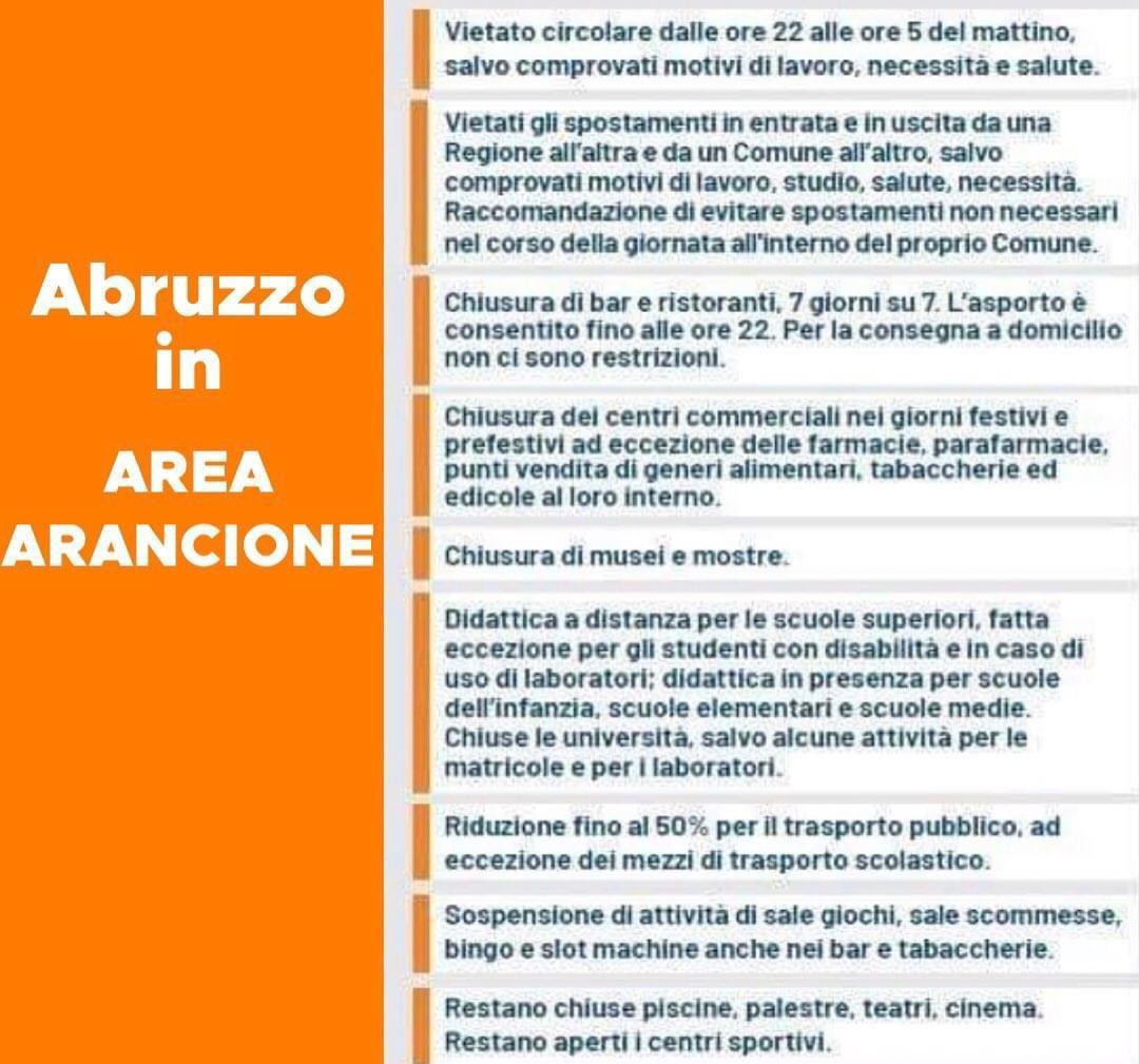 Da oggi l'Abruzzo passa in zona arancione.