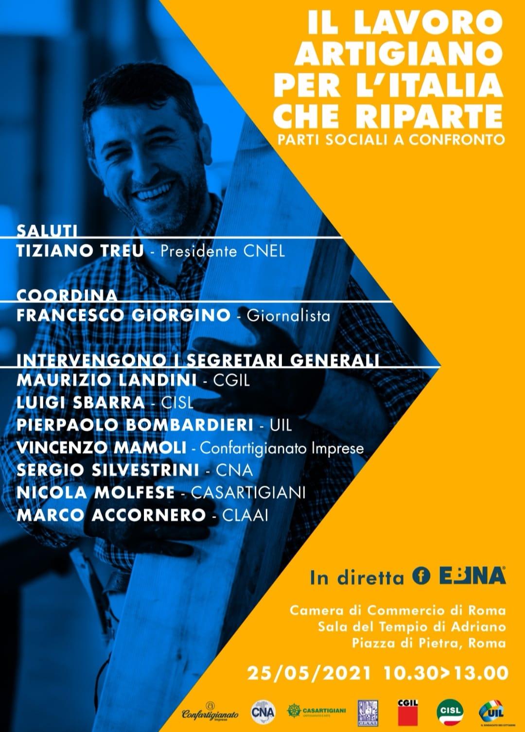 Diretta facebook: IL LAVORO ARTIGIANO PER L'ITALIA CHE RIPARTE – PARTI SOCIALI A CONFRONTO